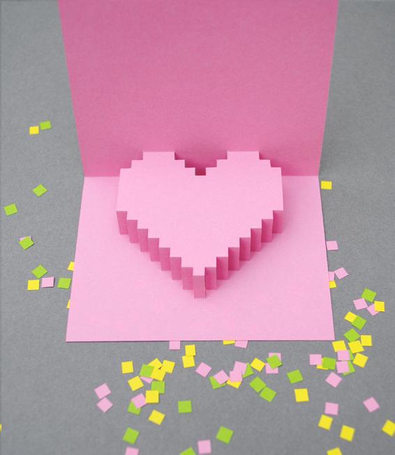 Валентинка с 3D сердечком